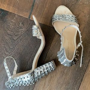 Zara Studded Silver Sandals Size 6